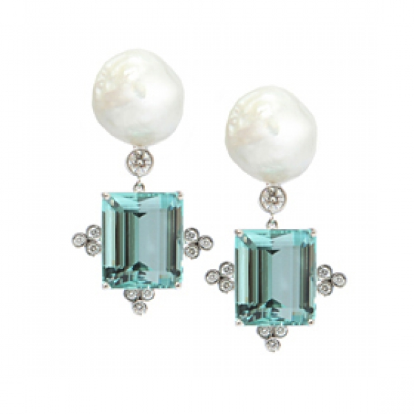 Baroque Pearl Aquamarine Earrings